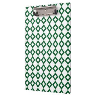White and Green Diamond Pattern Clipboard