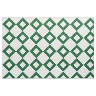 White and Green Diamond Pattern Fabric