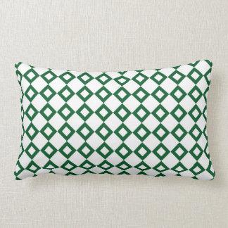 White and Green Diamond Pattern Lumbar Pillow