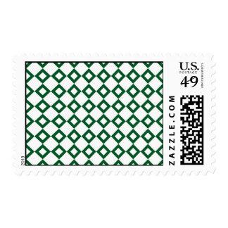 White and Green Diamond Pattern Postage