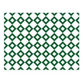 White and Green Diamond Pattern Postcard