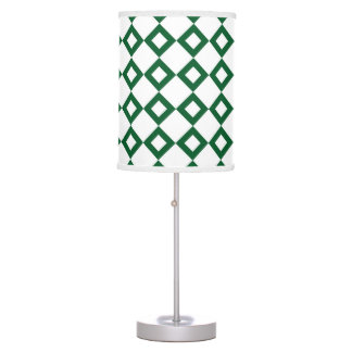 White and Green Diamond Pattern Table Lamp
