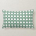 White and Green Diamond Pattern Throw Pillows