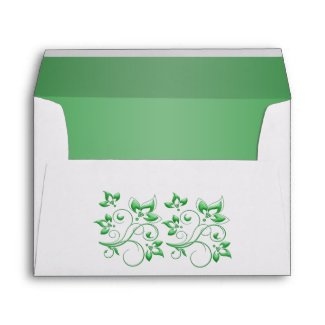 White and Green Floral Envelope for 5