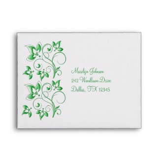 White and Green Floral Envelope for RSVP Card envelope