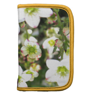 White and green flowers products folio planner