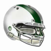 White and Green Football Helmet Ornament