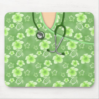 White And Green Hibiscus Island Medical Scrubs Mouse Pad