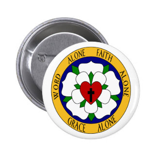 White And Green Luther Rose 2 Inch Round Button