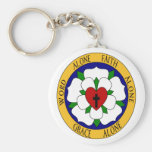 White And Green Luther Rose Basic Round Button Keychain