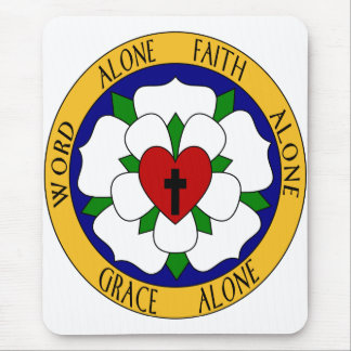 White And Green Luther Rose Mouse Pad
