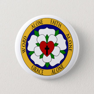 White And Green Luther Rose Pinback Button