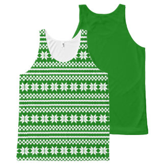 White and Green Nordic Christmas Sweater Pattern All-Over-Print Tank Top
