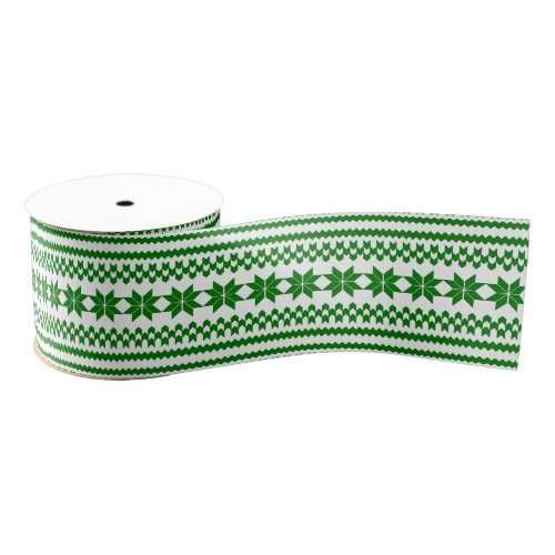 White and Green Nordic Christmas Sweater Pattern Grosgrain Ribbon