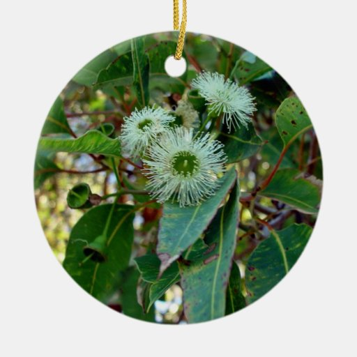 White and Green Pale gum blossom Double-Sided Ceramic Round Christmas Ornament