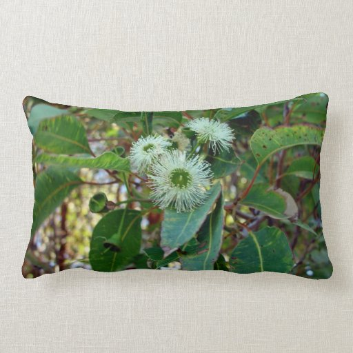 White and Green Pale gum blossom Pillows