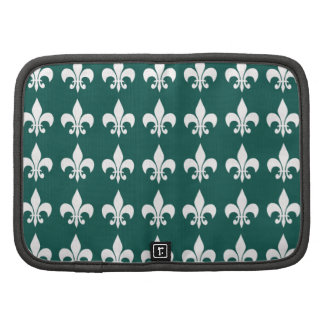 White And Green Pattern Folio Planner