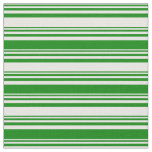 [ Thumbnail: White and Green Pattern of Stripes Fabric ]