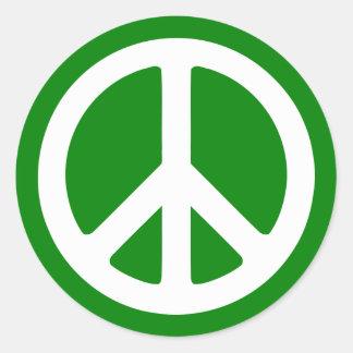 White and Green Peace Symbol Classic Round Sticker