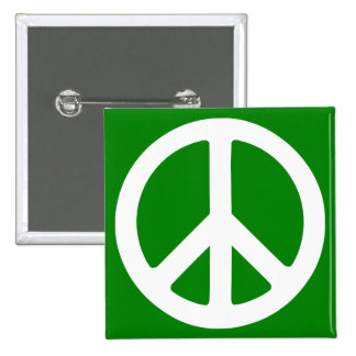 White and Green Peace Symbol Pinback Button