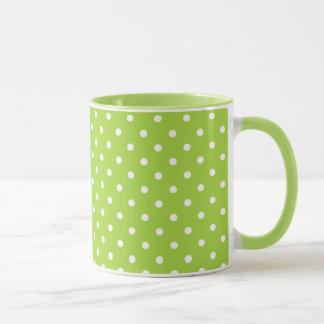 White And Green Polka Dot 11 oz Ringer Mug
