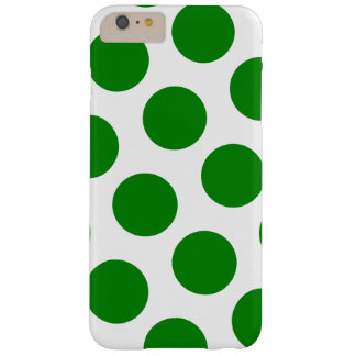 White and Green Polka Dot Pattern Barely There iPhone 6 Plus Case