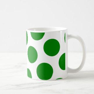 White and Green Polka Dot Pattern Coffee Mug