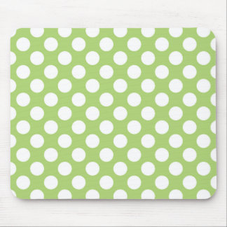 White and green polka dot pattern mouse pad