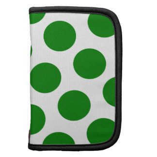 White and Green Polka Dot Pattern Planner