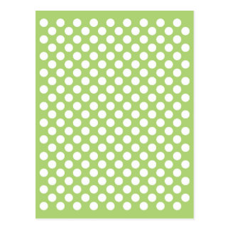 White and green polka dot pattern postcard