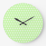 White and Green Polka Dot Pattern. Spotty. Round Wall Clock