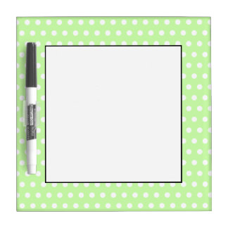 White and Green Polka Dot Pattern. Spotty. Dry Erase Boards