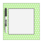 White and Green Polka Dot Pattern. Spotty. Dry-Erase Board