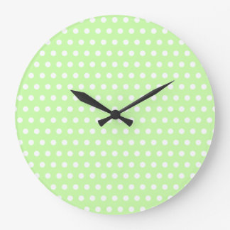 White and Green Polka Dot Pattern. Spotty. Large Clock