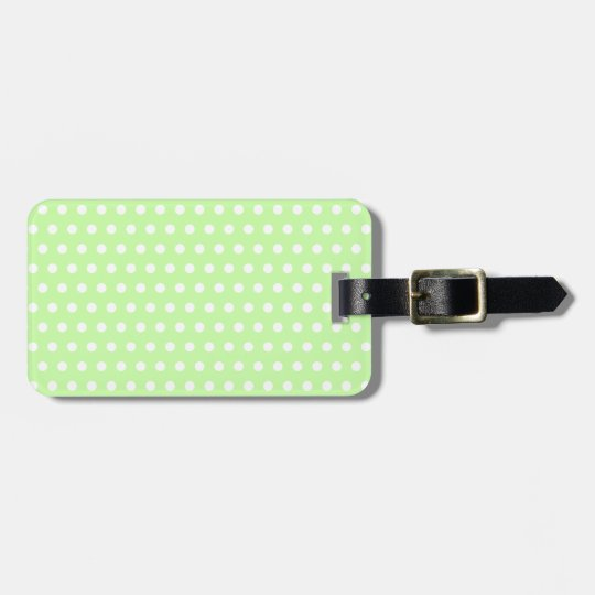 White and Green Polka Dot Pattern. Spotty. Luggage Tag