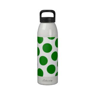 White and Green Polka Dot Pattern Water Bottle