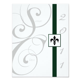 White and Green Scroll Ribbon Graduation Personalized Announcements