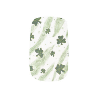 White and green shamrock pattern nails minx® nail wraps