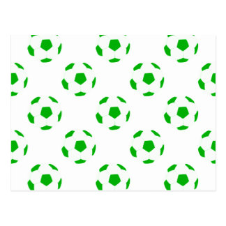 White and Green Soccer Ball Pattern Postcard