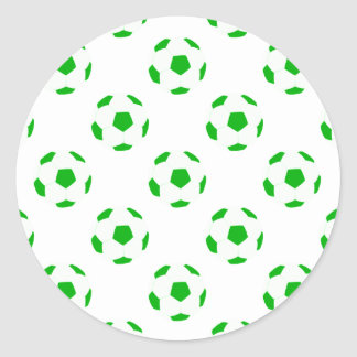 White and Green Soccer Ball Pattern Classic Round Sticker