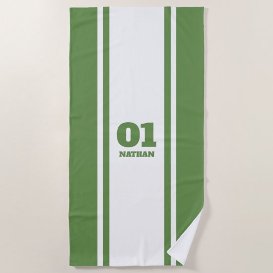White and Green Sports Stripe Name & Number Beach Towel