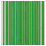 [ Thumbnail: White and Green Striped/Lined Pattern Fabric ]
