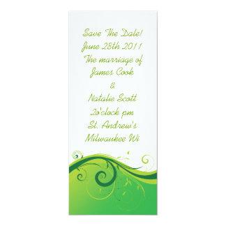 "White and Green Swirl ""Save the Date"" invite"