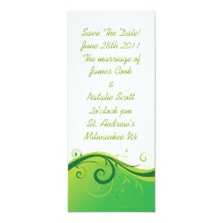 "White and Green Swirl ""Save the Date"" invite 4"" X 9.25"" Invitation Card"