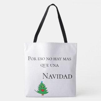 white and green tote bag navidad