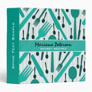 White And Green Utensils Random Pattern Vinyl Binder