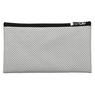 White and Grey Carbon Fiber Graphite Cosmetic Bag