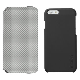 White and Grey Carbon Fiber Graphite iPhone 6/6s Wallet Case