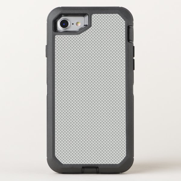 White and Grey Carbon Fiber Polymer OtterBox Defender iPhone 7 Case
