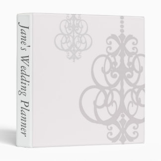 White and Grey Chandelier Wedding Planner 3 Ring Binder